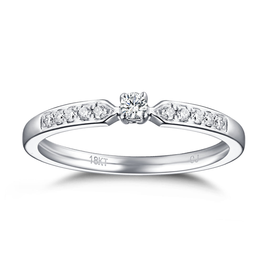 White Gold Diamond Solitaire Plus Promise Ring - S2012170