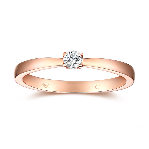Rose Gold Diamond Solitaire Promise Ring - S2012171