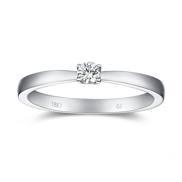 White Gold Diamond Solitaire Promise Ring - S2012171