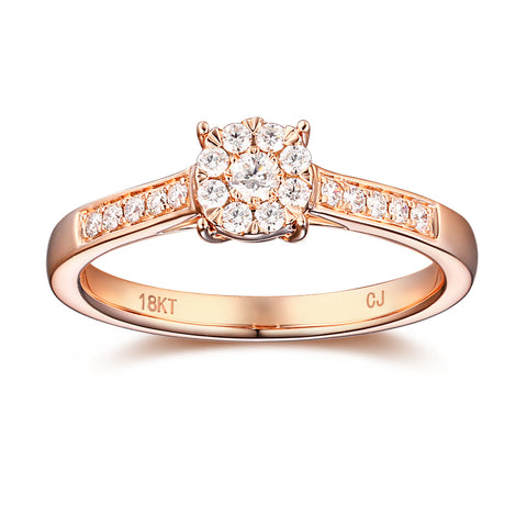 Rose Gold Diamond Cluster Promise Ring - S2012172