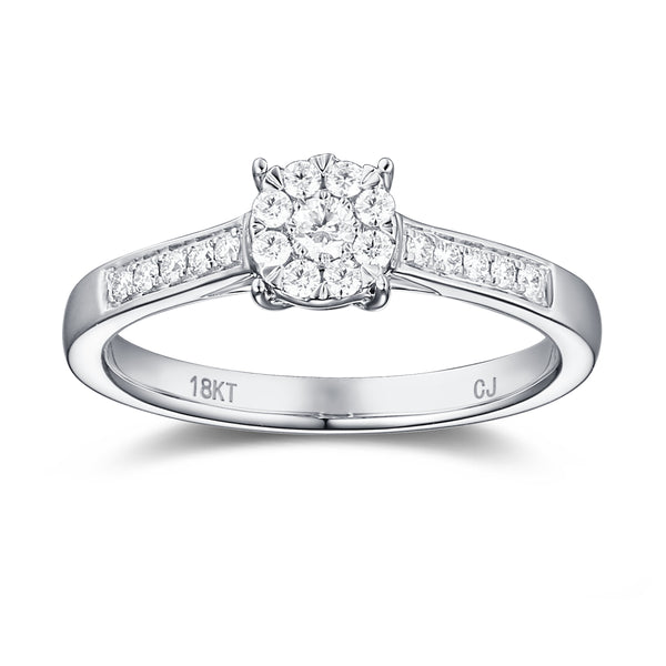 White Gold Diamond Cluster Promise Ring - S2012172