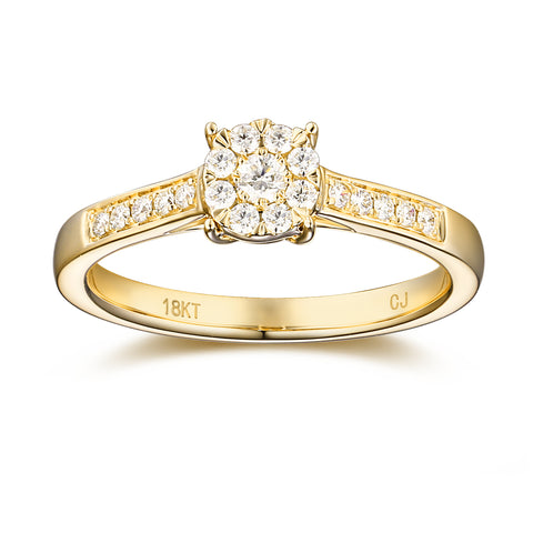 Yellow Gold Diamond Cluster Promise Ring - S2012172