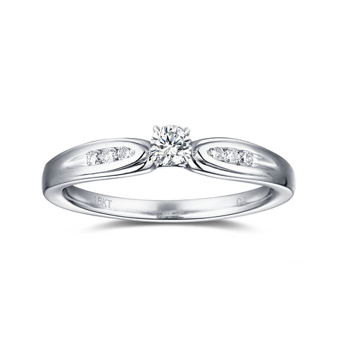 White Gold Diamond Solitaire Plus Promise Ring - S2012173