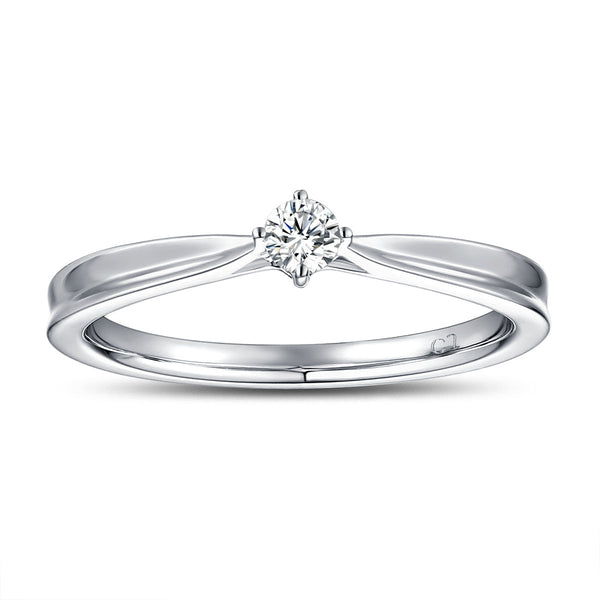 White Gold Diamond Solitaire Promise Ring - S2012176