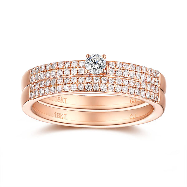 Rose Gold Diamond Engagement Ring S2012141A and Wedding Band S2012141B