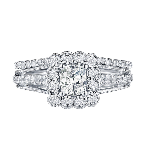 Cushion Cut Engagement Ring S201607A and Band Set S201607B