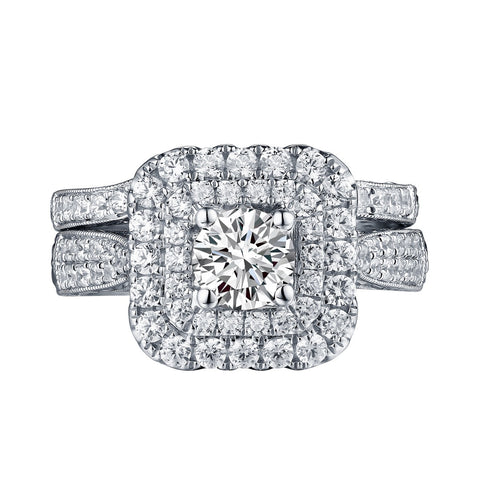 Mystere Halos Round Engagement Ring S201593A and Band Set S201593B