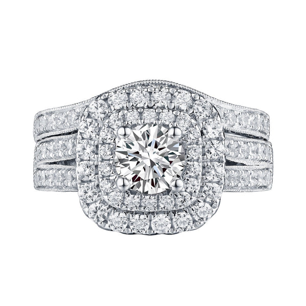 Mystere Halos Round Engagement Ring S201594A and Band Set S201594B