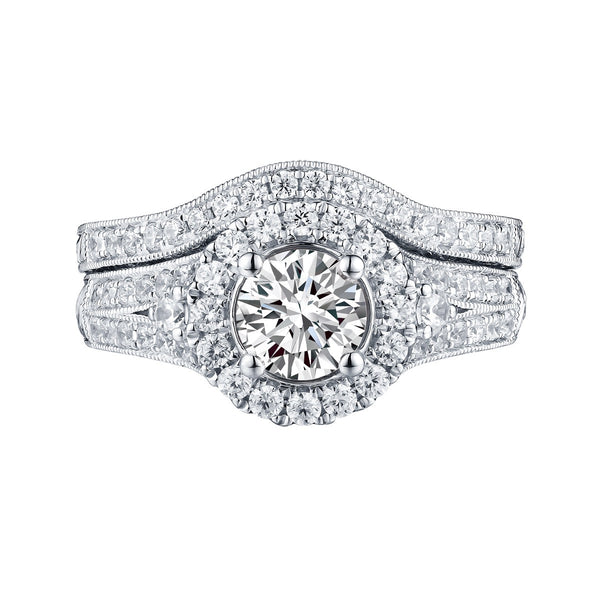 Round  Engagement Ring S201595A and Band Set S201595B