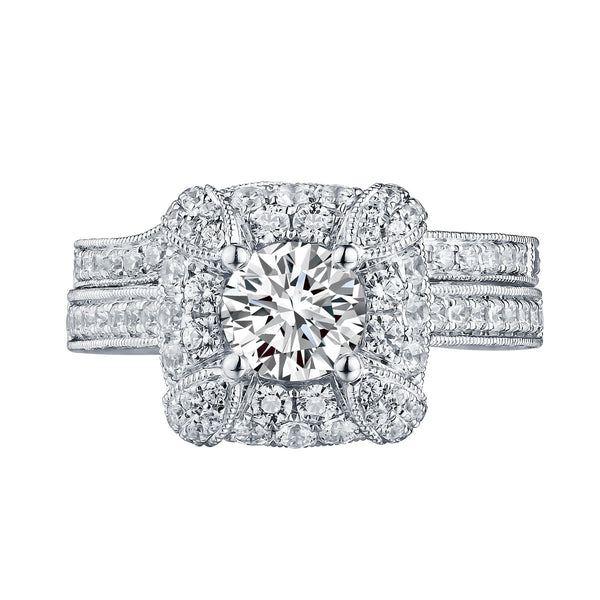 Mystere Halos Round Engagement Ring S201591A and Band Set S201591B