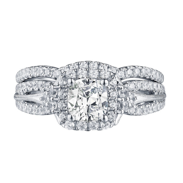 Cushion Cut Diamond Engagement Ring S201612A and Band Set S201612B