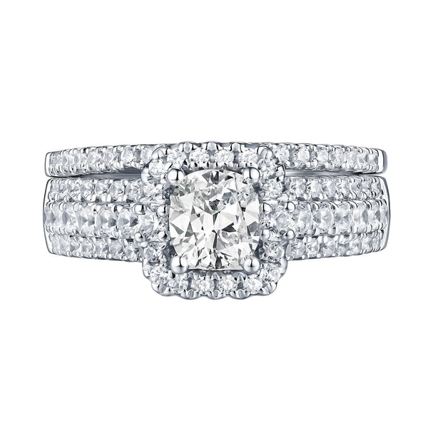 Cushion Cut Diamond Engagement Ring S201610A and Band Set S201610B