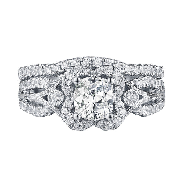 Cushion Cut Engagement Ring S201599A and Band Set S201599B