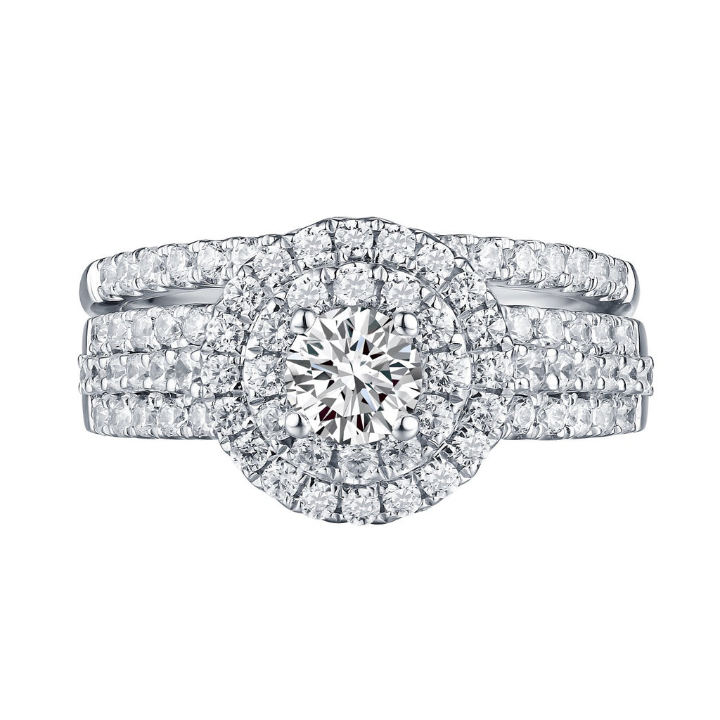 Round Diamond Engagement Ring S201606A and Band Set S201606B
