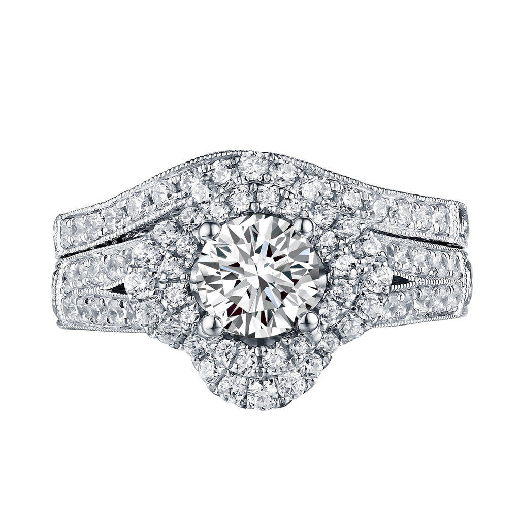 Floral Round Engagement Ring S201592A and Band Set S201592B