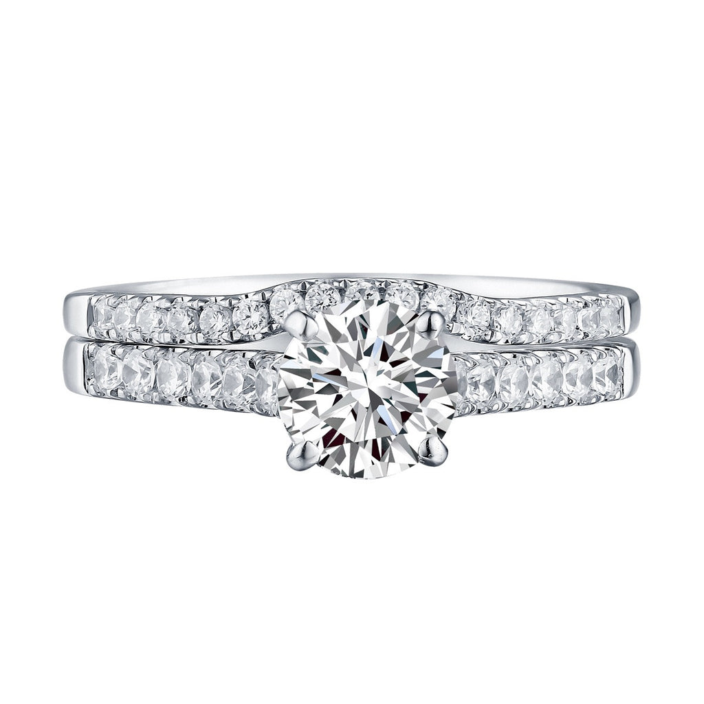 Modern Round Engagement Ring S201584A and Band Set S201584B