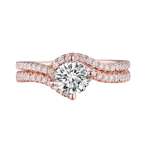 Round Diamond Engagement Ring S201629A and Band Set S201629B