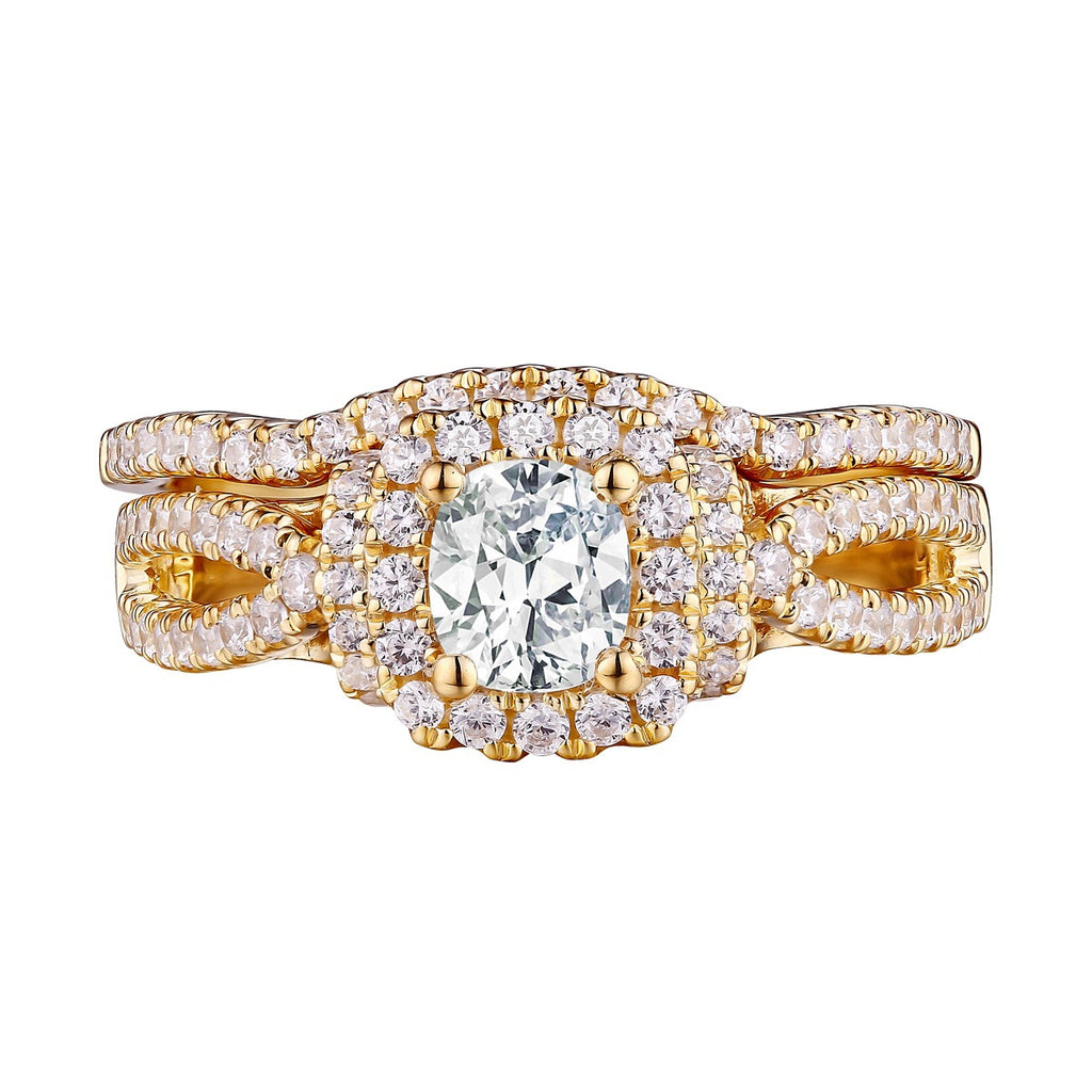 Cushion Cut Engagement Ring S201598A and Band Set S201598B