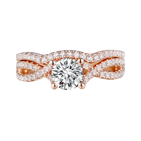 Round Diamond Engagement Ring S201627A and Band Set S201627B