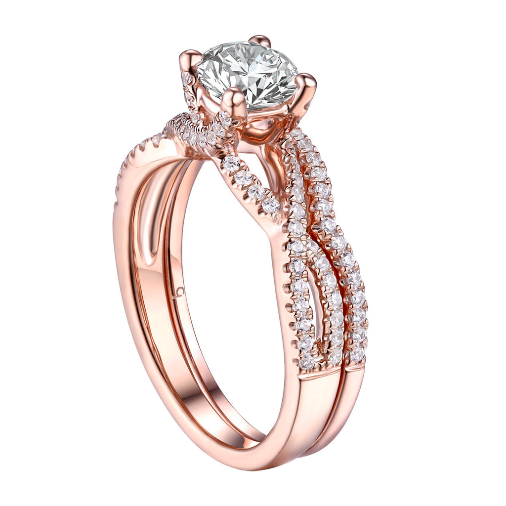 Round Diamond Engagement Ring S201625A and Band S201625B