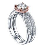 Two-tone Round Diamond Engagement Ring S201618A and Band Set S201618B