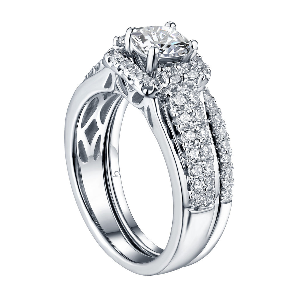Cushion Cut Engagement Ring S201608A and Band S201608B