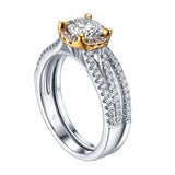 Two tone Round Diamond Engagement Ring S201620A and Band Set S201620B