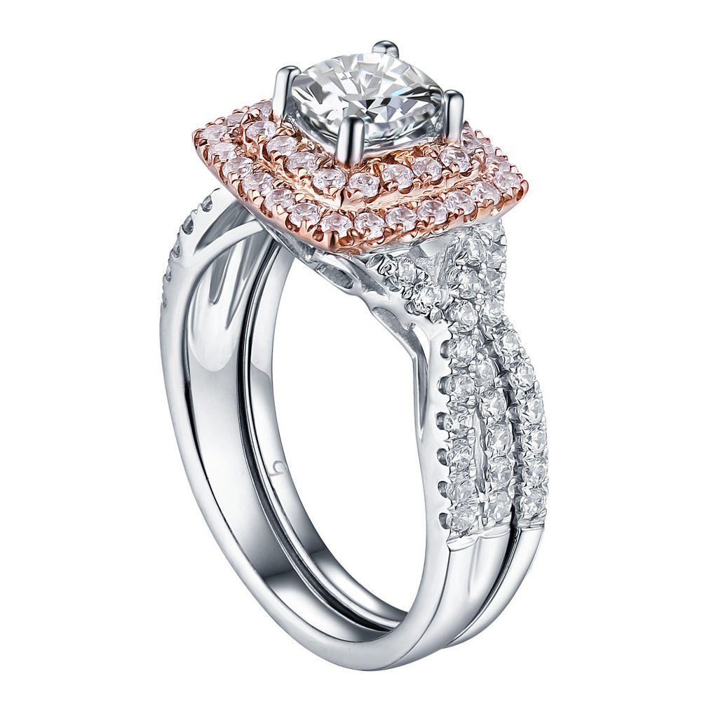 Cushion Cut Diamond Engagement Ring S201616A and Band Set S201616B