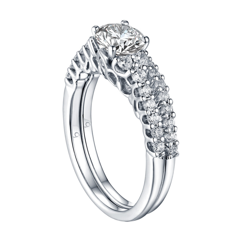 Round Diamond Engagement Ring S201617A and Band Set S201617B