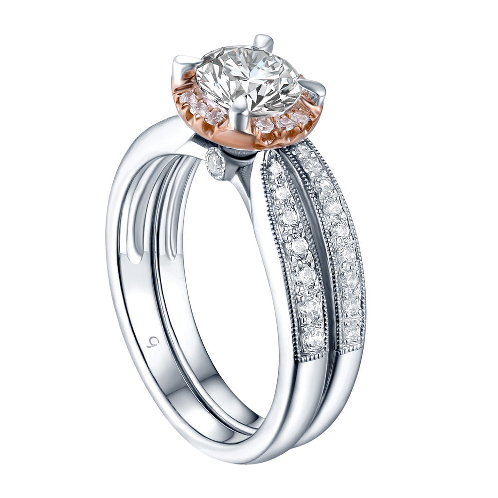 Two-tone Round Diamond Engagement Ring S201619A and Band Set S201619B
