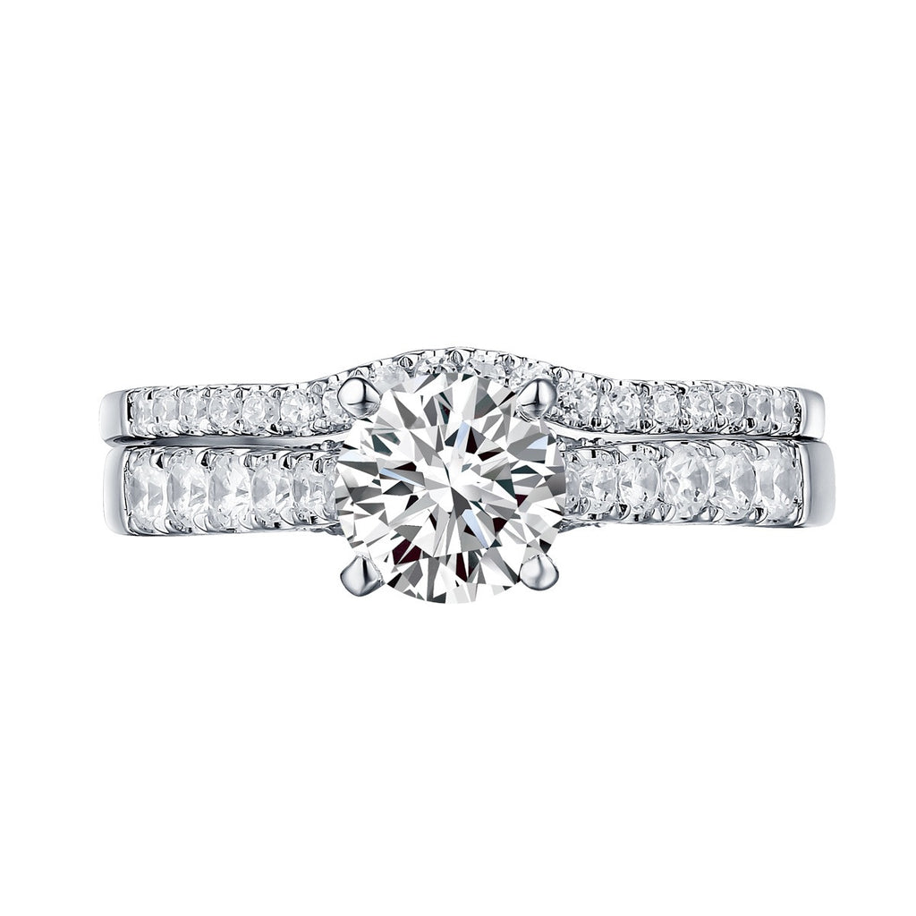 Modern Round Engagement Ring S201585A and Band Set S201585B
