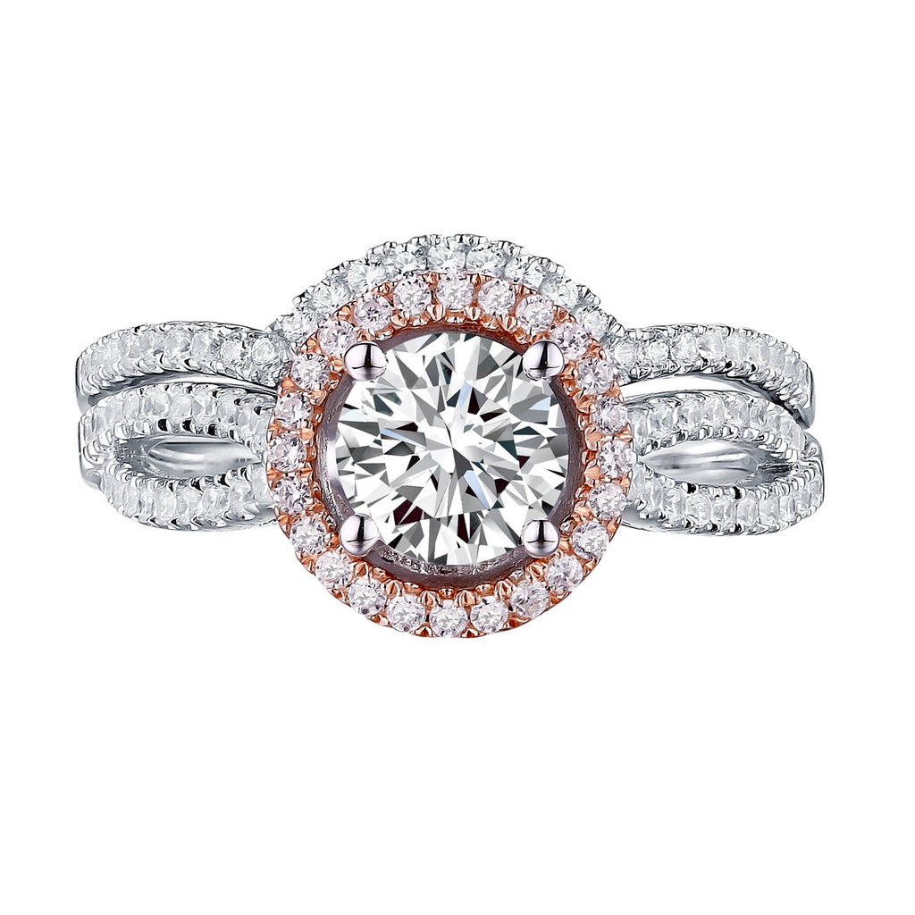 Modern Round Engagement Ring S201587A and Band Set S201587B
