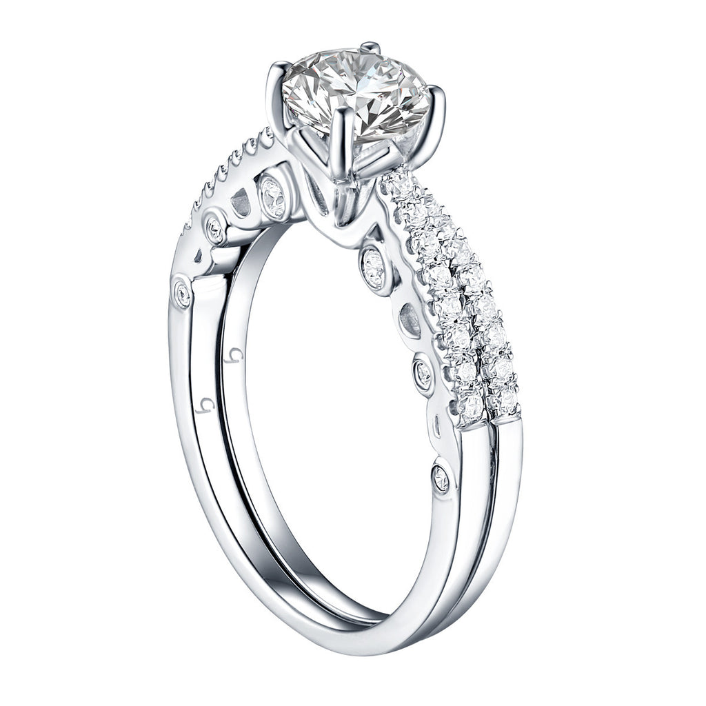 Modern Round Engagement Ring S201590A and Band Set S201590B