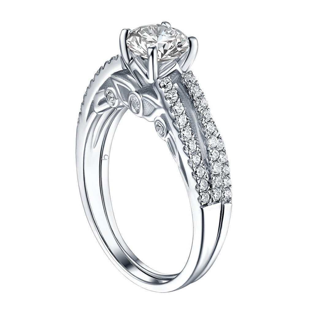 Modern Round Engagement Ring S201589A and Band Set S201589B
