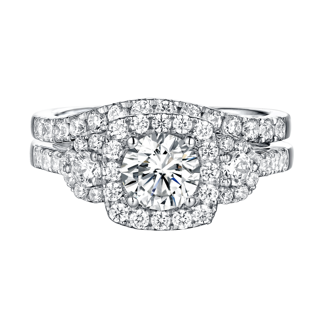 Modern Three Stone Engagement Ring S201543A and Band Set S201543B