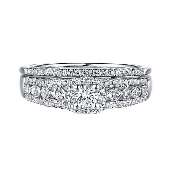 Beau Diamond Engagement Ring S201865A and Band Set S201865B