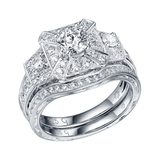 Taj Engagement Ring SV0222A and Wedding Ring SV0222B Set