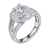Renaissance Engagement Ring QAR0229A and Band QAR0229B Set