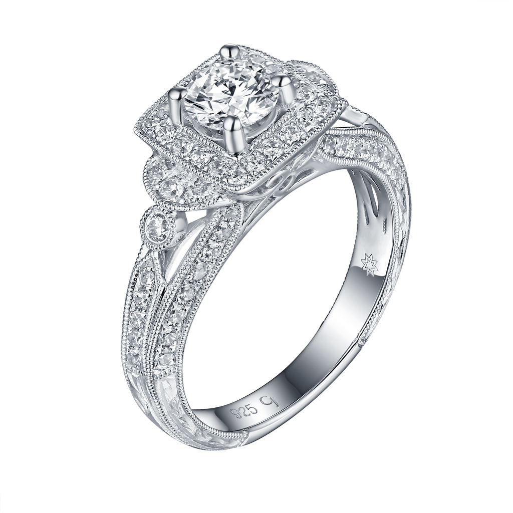 Taj Engagement Ring SV0230A and Wedding Ring SV0230B Set