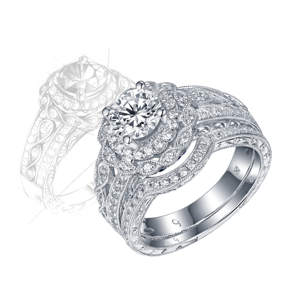 Renaissance Engagement Ring QAR0223A and Band QAR0223B Set