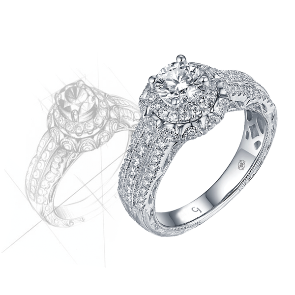 Renaissance Engagement Ring QAR0224A and Band QAR0224B Set