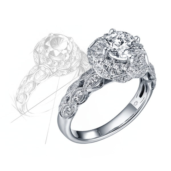 Taj Engagement Ring QAR0225A and Wedding Ring QAR0225B Set