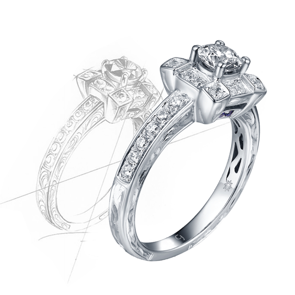 Taj Engagement Ring SV0227A and Wedding Ring SV0227B Set