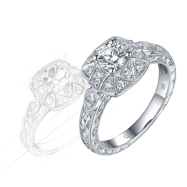 Renaissance Engagement Ring QAR0228A and Band QAR0228B Set