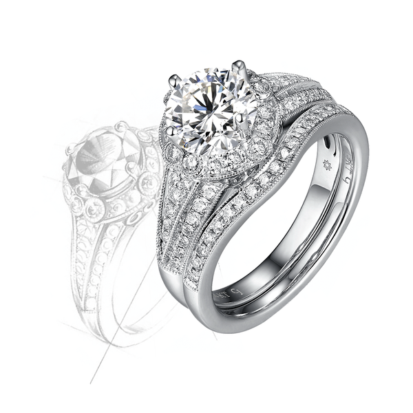 Taj Engagement Ring SV0231A and Wedding Ring SV0231B Set