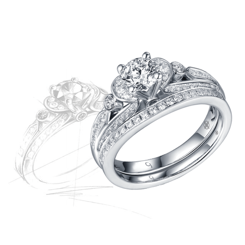 Renaissance Engagement Ring QAR0232A and Band QAR0232B Set
