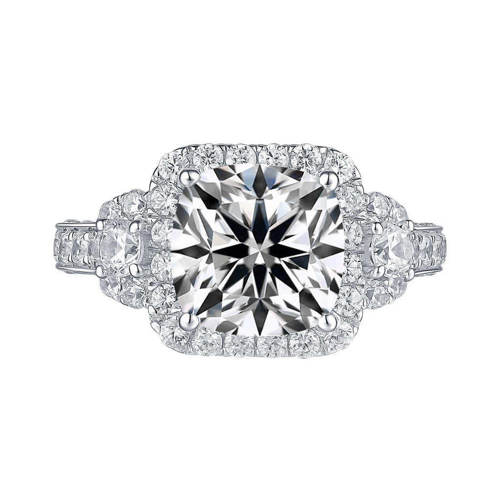 White Gold Cushion Engagement Ring S2016108A