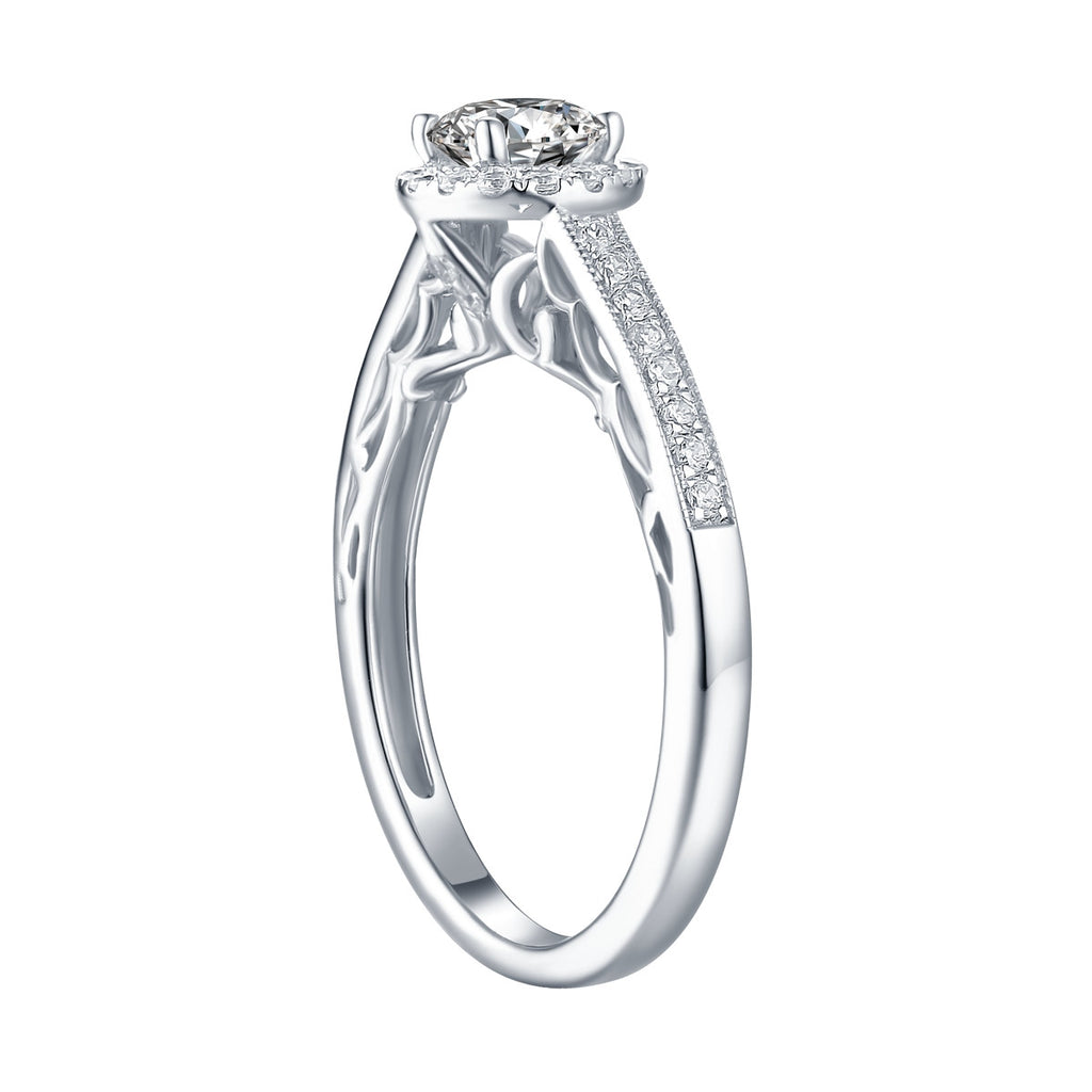 White Gold Round Engagement Ring S2016116A and Wedding Ring S2016116B