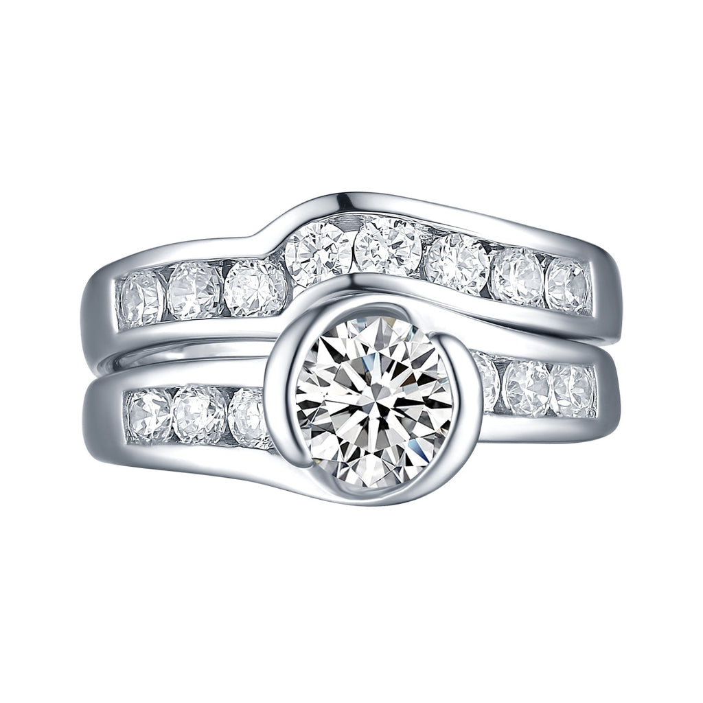 White Gold Round Engagement Ring S2016112A and Band S2016112B