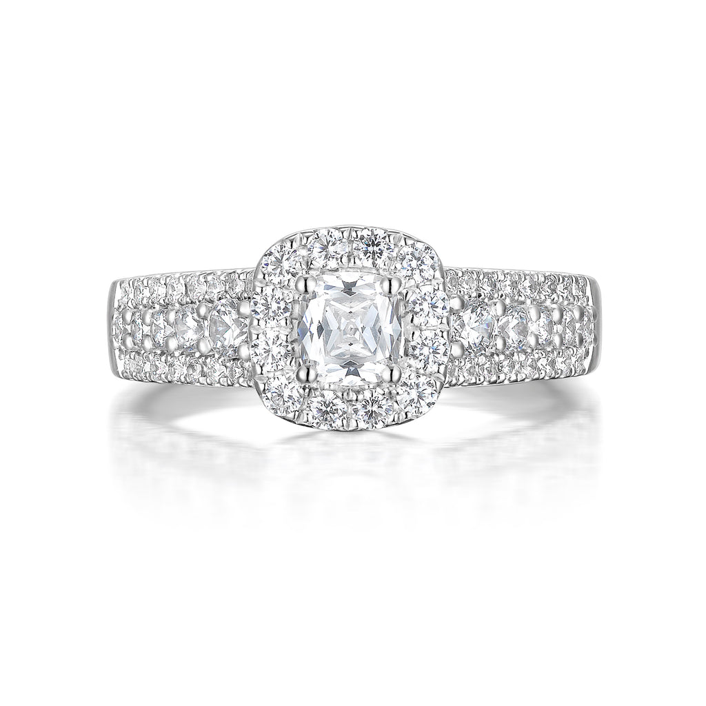 Cushion Cut Diamond Engagement Ring S20153A and Band Set S20153B